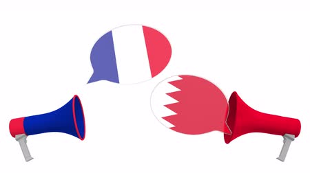 debat : Speech bubbles with flags of Bahrain and France. Intercultural dialogue or international talks related 3D animation