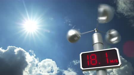 meteorological : Anemometer displays 80 meters per second wind speed. Weather forecast related 3D animation