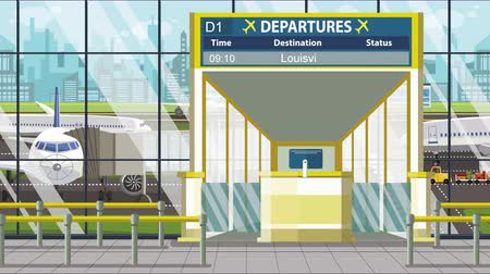 キャプション : Airport departure board with Louisville caption. Travel in the United States related loopable cartoon animation