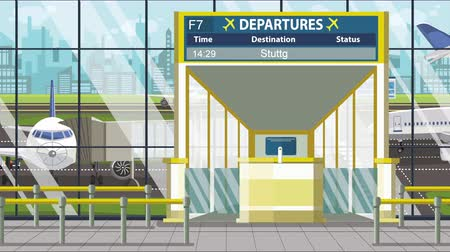 portaal : Departure board in the airport terminal with Stuttgart caption. Travel to Germany loopable cartoon animation