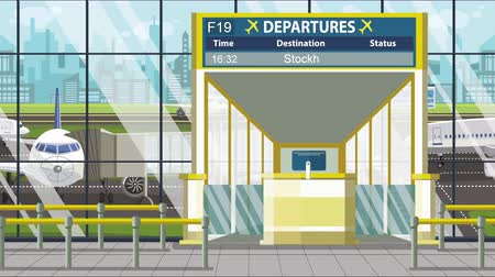 estocolmo : Airport departure board with Stockholm caption. Travel in Sweden related loopable cartoon animation Vídeos