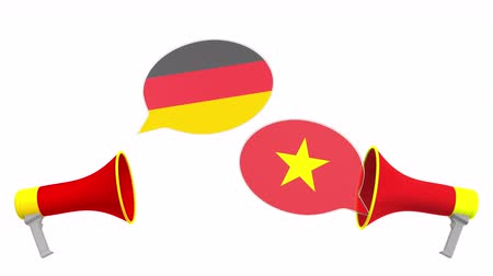 bandera vietnam : Flags of Vietnam and Germany on speech balloons from megaphones. Intercultural dialogue or international talks related 3D animation Archivo de Video