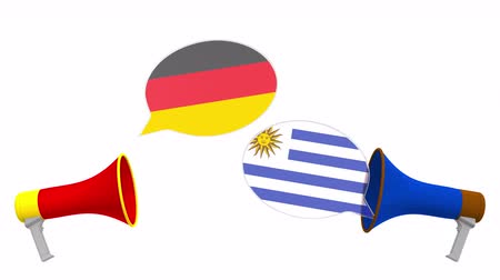 debata : Flags of Uruguay and Germany on speech bubbles with loudspeakers. Intercultural dialogue or international talks related 3D animation
