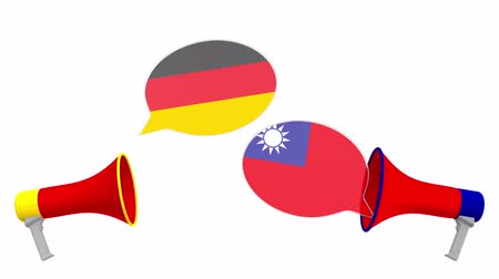 debata : Speech bubbles with flags of Taiwan and Germany. Intercultural dialogue or international talks related 3D animation