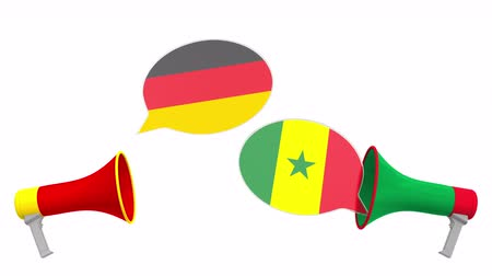 debat : Speech bubbles with flags of Senegal and Germany. Intercultural dialogue or international talks related 3D animation