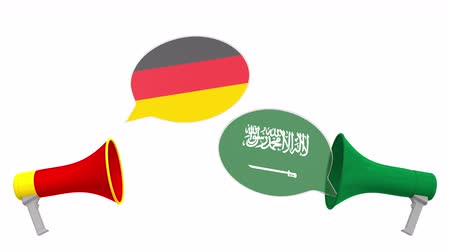 debata : Flags of Saudi Arabia and Germany on speech balloons from megaphones. Intercultural dialogue or international talks related 3D animation