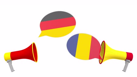vita : Flags of Romania and Germany on speech balloons from megaphones. Intercultural dialogue or international talks related 3D animation Stock mozgókép