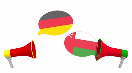 debat : Flags of Oman and Germany on speech balloons from megaphones. Intercultural dialogue or international talks related 3D animation