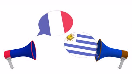 debat : Flags of Uruguay and France on speech bubbles with loudspeakers. Intercultural dialogue or international talks related 3D animation