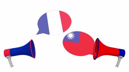 vita : Speech bubbles with flags of Taiwan and France. Intercultural dialogue or international talks related 3D animation Stock mozgókép