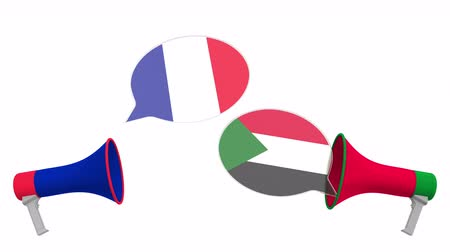 debat : Speech bubbles with flags of Sudan and France and loudspeakers. Intercultural dialogue or international talks related 3D animation Stockvideo