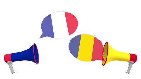 political speech : Flags of Romania and France on speech balloons from megaphones. Intercultural dialogue or international talks related 3D animation