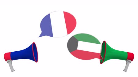 мегафон : Flags of Kuwait and France on speech balloons from megaphones. Intercultural dialogue or international talks related 3D animation Стоковые видеозаписи