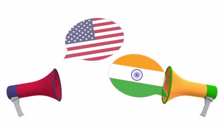 debat : Speech bubbles with flags of India and the USA. Intercultural dialogue or international talks related 3D animation