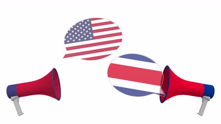 debata : Speech bubbles with flags of Costa Rica and the USA and loudspeakers. Intercultural dialogue or international talks related 3D animation