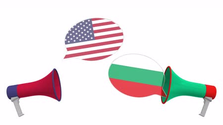 debat : Speech bubbles with flags of Bulgaria and the USA and loudspeakers. Intercultural dialogue or international talks related 3D animation