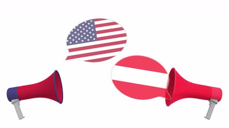 debata : Speech bubbles with flags of Austria and the USA and loudspeakers. Intercultural dialogue or international talks related 3D animation