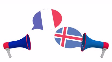 мегафон : Speech bubbles with flags of Iceland and France. Intercultural dialogue or international talks related 3D animation