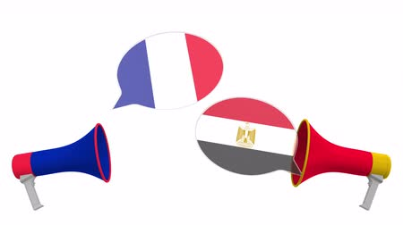 negotiations : Flags of Egypt and France on speech bubbles with loudspeakers. Intercultural dialogue or international talks related 3D animation