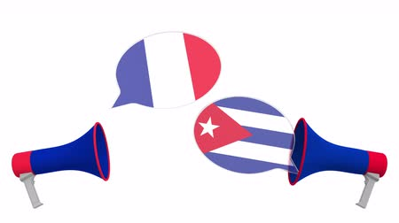debata : Flags of Cuba and France on speech bubbles with loudspeakers. Intercultural dialogue or international talks related 3D animation
