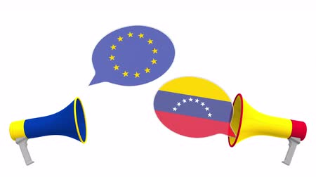 political speech : Speech bubbles with flags of Venezuela and the EU and loudspeakers. Intercultural dialogue or international talks related 3D animation Stock Footage