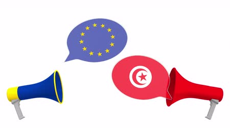 tunisia : Speech bubbles with flags of Tunisia and the European Union EU. Intercultural dialogue or international talks related 3D animation Stock Footage