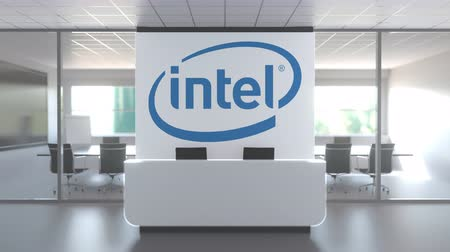 intel : Modern office meeting room and reception with INTEL CORPORATION logo. Editorial conceptual 3D animation Stock Footage