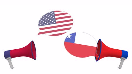 мегафон : Speech bubbles with flags of Chile and the USA. Intercultural dialogue or international talks related 3D animation Стоковые видеозаписи
