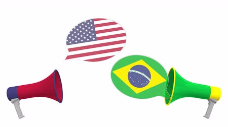 bandiera brasiliana : Speech bubbles with flags of Brazil and the USA and loudspeakers. Intercultural dialogue or international talks related 3D animation