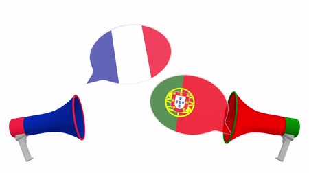 megafon : Speech bubbles with flags of Portugal and France. Intercultural dialogue or international talks related 3D animation