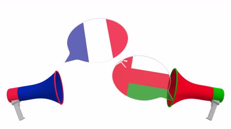 debata : Flags of Oman and France on speech balloons from megaphones. Intercultural dialogue or international talks related 3D animation