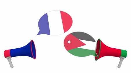 мегафон : Speech bubbles with flags of Jordan and France and loudspeakers. Intercultural dialogue or international talks related 3D animation