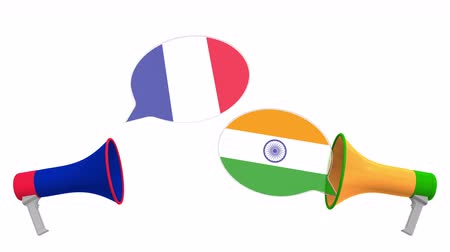 megafon : Speech bubbles with flags of India and France. Intercultural dialogue or international talks related 3D animation