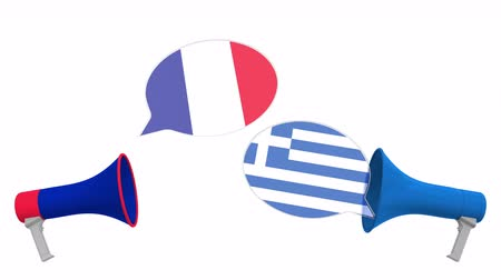 greek flag : Speech bubbles with flags of Greece and France. Intercultural dialogue or international talks related 3D animation