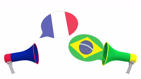bandiera brasiliana : Speech bubbles with flags of Brazil and France and loudspeakers. Intercultural dialogue or international talks related 3D animation