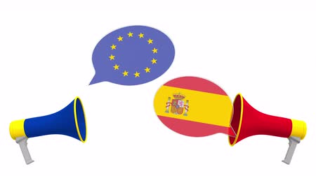 megbeszélés : Speech bubbles with flags of Spain and the European Union EU. Intercultural dialogue or international talks related 3D animation
