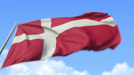 danish : Flying national flag of Denmark, low angle view. Loopable realistic slow motion 3D animation Stock Footage