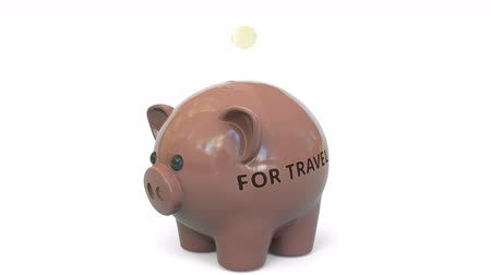 összeg : Money fall into piggy bank with FOR TRAVEL text. Savings related 3D animation Stock mozgókép