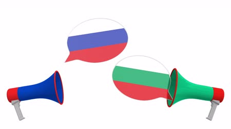 мегафон : Speech bubbles with flags of Bulgaria and Russia. Intercultural dialogue or international talks related 3D animation
