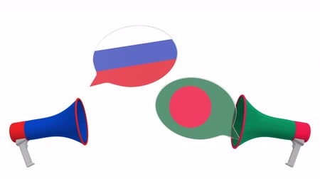 debata : Flags of Bangladesh and Russia on speech balloons from megaphones. Intercultural dialogue or international talks related 3D animation