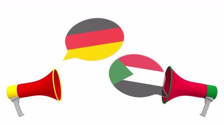мегафон : Speech bubbles with flags of Sudan and Germany and loudspeakers. Intercultural dialogue or international talks related 3D animation