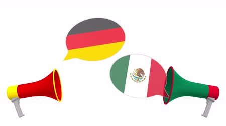 debat : Speech bubbles with flags of Mexico and Germany and loudspeakers. Intercultural dialogue or international talks related 3D animation Stockvideo