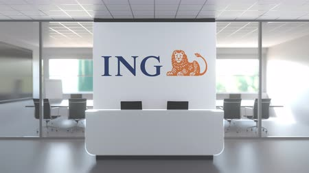 oficial : Logo of ING on a wall in the modern office, editorial conceptual 3D animation Stock Footage