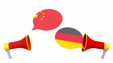 debata : Speech bubbles with flags of Germany and China and loudspeakers. Intercultural dialogue or international talks related 3D animation