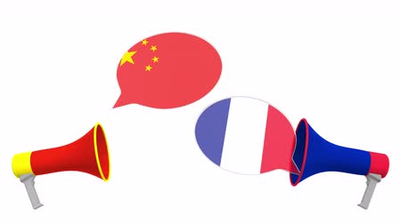political speech : Flags of France and China on speech balloons from megaphones. Intercultural dialogue or international talks related 3D animation
