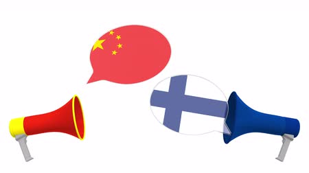 フィンランド : Speech bubbles with flags of Finland and China. Intercultural dialogue or international talks related 3D animation