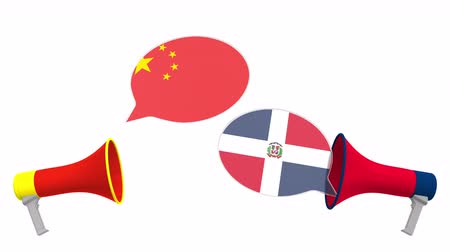 утверждение : Flags of the Dominican Republic and China on speech balloons from megaphones. Intercultural dialogue or international talks related 3D animation