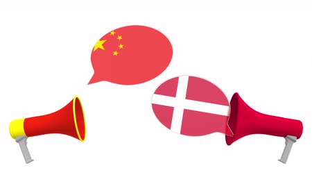 debata : Speech bubbles with flags of Denmark and China and loudspeakers. Intercultural dialogue or international talks related 3D animation