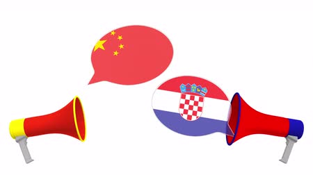 мегафон : Speech bubbles with flags of Croatia and China. Intercultural dialogue or international talks related 3D animation Стоковые видеозаписи