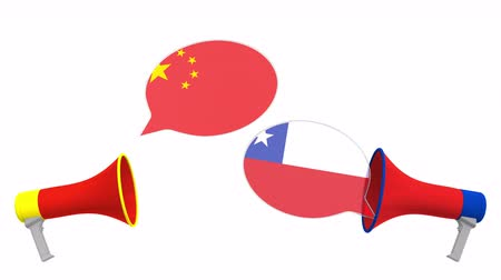 мегафон : Speech bubbles with flags of Chile and China. Intercultural dialogue or international talks related 3D animation Стоковые видеозаписи